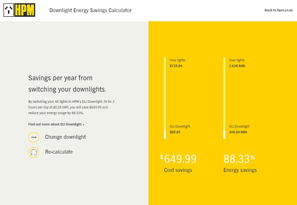 HPM website screenshot energy savings calculator